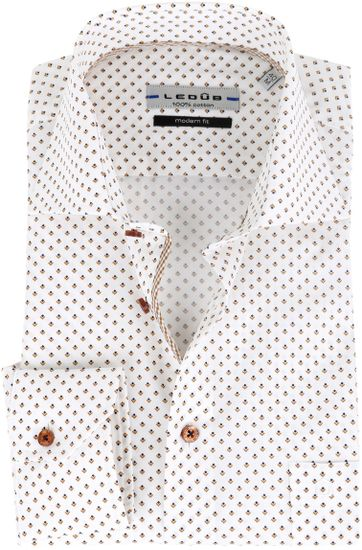 Ledub Overhemd Patroon Wit