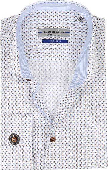 Ledub Overhemd Print Bruin Blauw SL7
