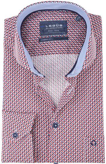 Ledub Overhemd Rood Patroon