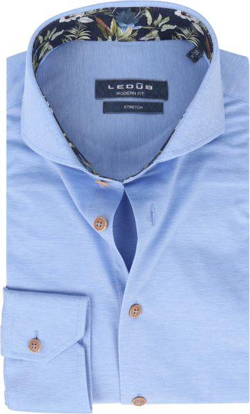 Ledub Overhemd Stretch Blauw
