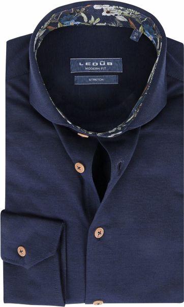 Ledub Overhemd Stretch Donkerblauw