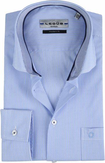 Ledub Overhemd Stretch Streep Blauw