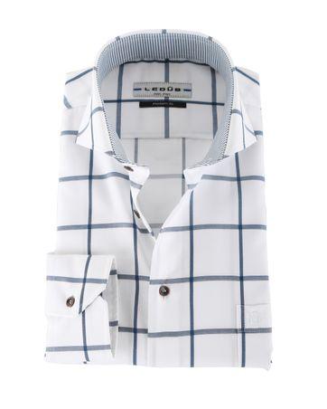 Ledub Overhemd Strijkvrij Blauwe Ruit Modern Fit