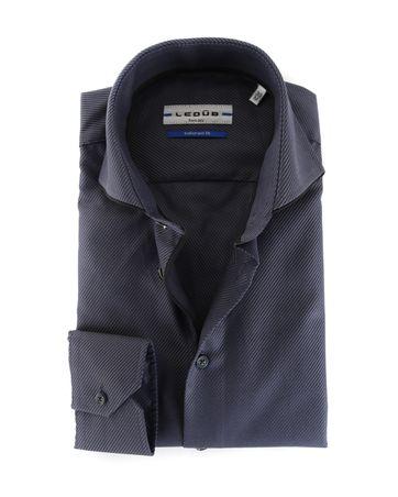 Ledub Overhemd Strijkvrij Donkerblauw Schuine Streep