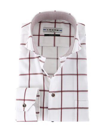 Ledub Overhemd Strijkvrij Rode Ruit Modern Fit