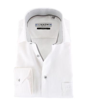 Ledub Overhemd Strijkvrij Wit Modern Fit