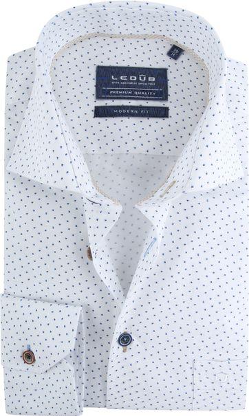 Ledub Overhemd Wit Dessin MF