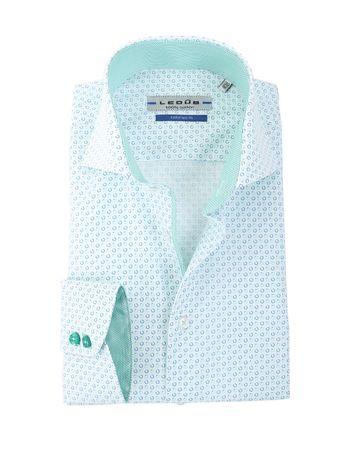 Ledub Overhemd Wit + Groen Print