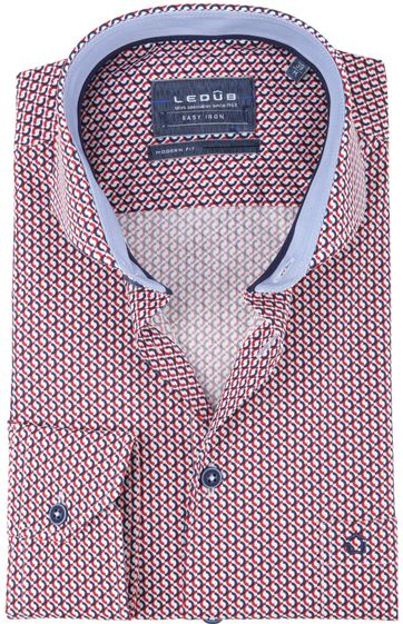 Ledub Shirt Print Red Pattern