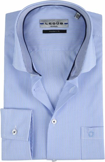 Ledub Shirt Stretch Stripes Blue