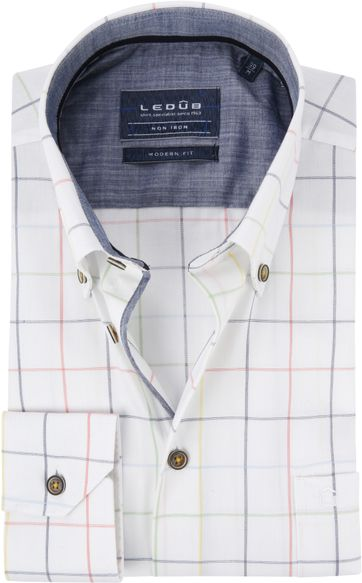 Ledub Shirt White Checks Non Iron MF