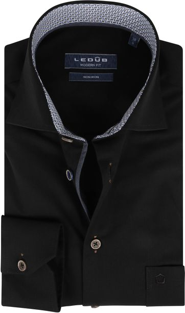 Ledub Strijkvrij Katoen Overhemd Zwart