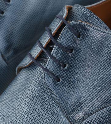 Detail Leren Herenschoen Blauw Tello