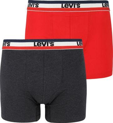 Levi's Boxershorts 2-Pack Rood Grijs