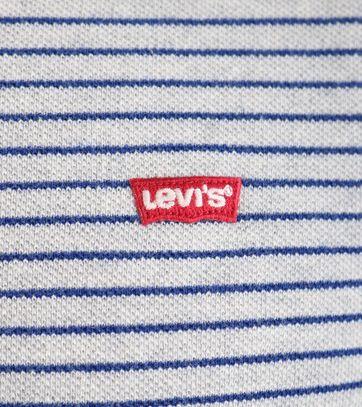Detail Levi\'s Polo Streep Grijs & Blauw