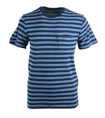 Levi\'s T-shirt Pocket Blauw Streep