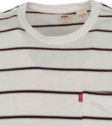 Levi's T-Shirt Pocket Stripes Bordeaux