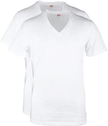 Levi's T-shirt V-Hals Weiß 2Pack