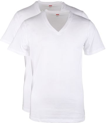 Levi\'s T-shirt V-Hals Wit 2Pack