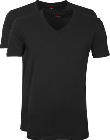 Levi's T-Shirt V-Hals Zwart 2-Pack