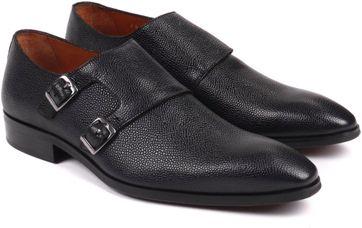 Luxus Herren Schuh Doppel Monkstrap Schwarz