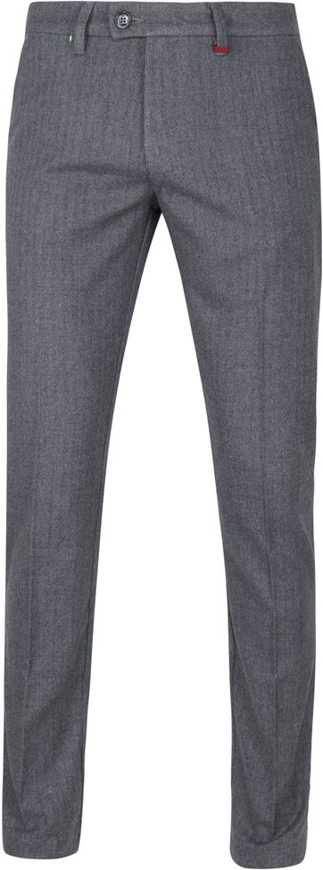 Mac Lennox Chino Herringbone Grey Blue