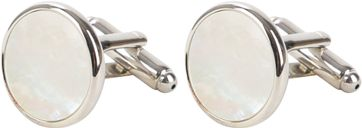 Manchetknoop Rond Silver Pearl