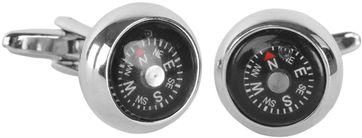 Manschettenknöpfe Silber Kompass