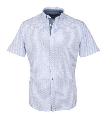 Marc O\'Polo Korte Mouw Overhemd Wit Blauw