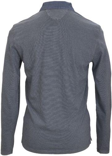 Detail Marc O\'Polo Lange Ärmel Poloshirt Blau Grau