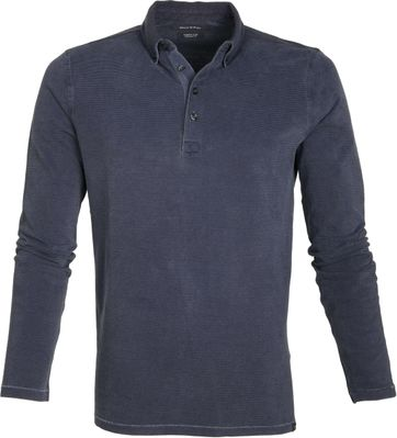 Marc O\'Polo Lange Ärmel Poloshirt Streifen Dunkeblau