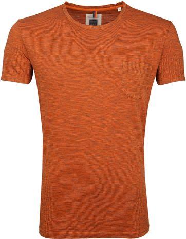 Marc O'Polo Logo T-shirt Streep Oranje