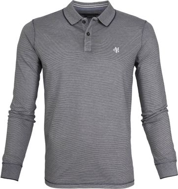 Marc O'Polo Longsleeve Polo Stripes Grey