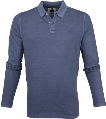 Marc O'Polo Poloshirt LS Strepen Donkerblauw