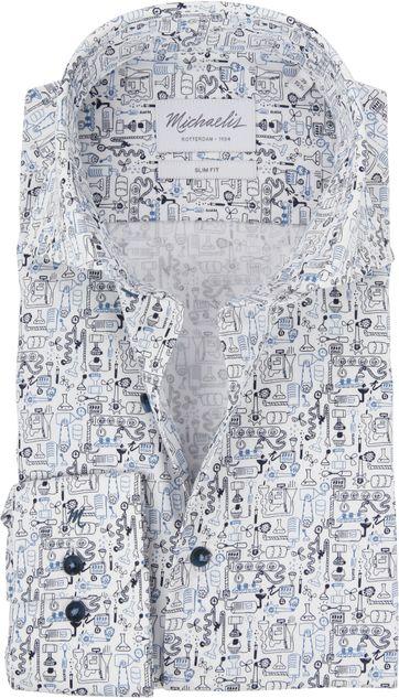 Michaelis Hemd SF Dessin Blau