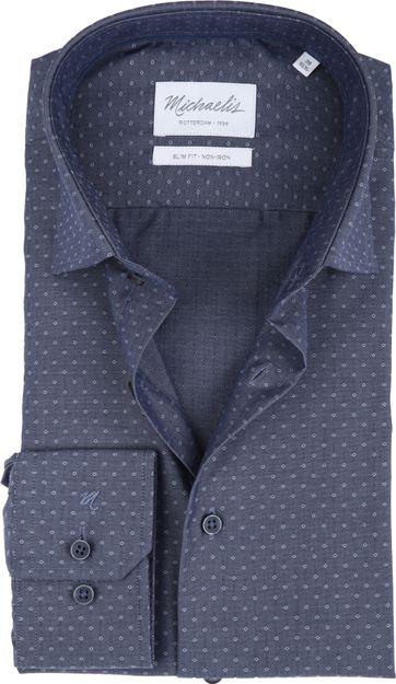 Michaelis Overhemd Patroon Blauw