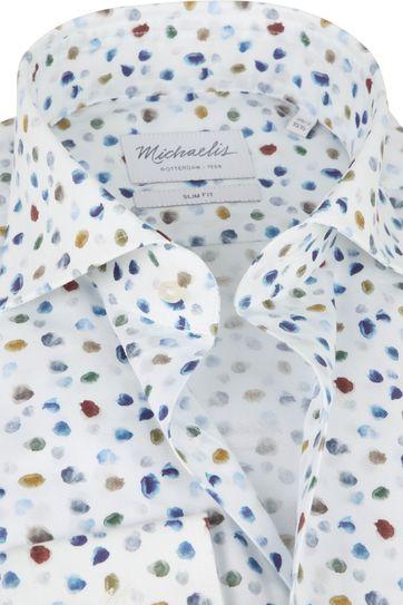 Michaelis Overhemd Poplin Wit Stippen SL7