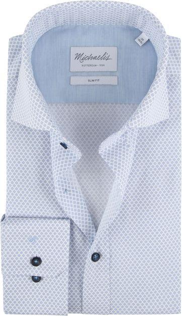 Michaelis Overhemd Skinny Print Blauw