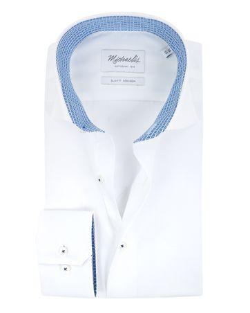 Michaelis Overhemd Slim Fit Strijkvrij Wit