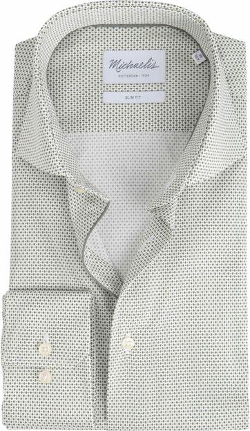 Michaelis Overhemd Strijkvrij Dessin Olive