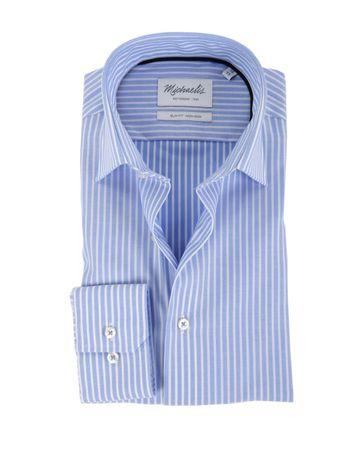 Michaelis Overhemd Strijkvrij Streep Blauw