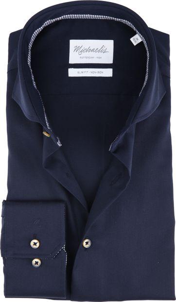 Michaelis Overhemd Strijkvrij Uni Blauw
