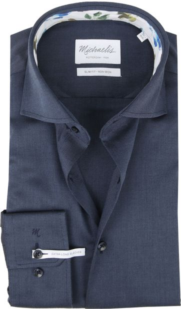 Michaelis Overhemd Twill Donkerblauw SL7