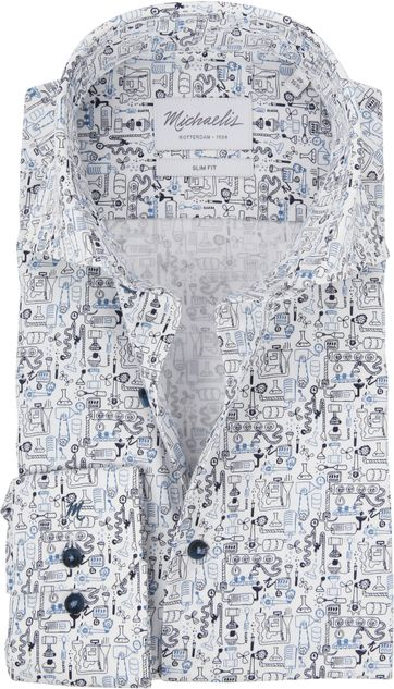 Michaelis Shirt SF Dessin Blue