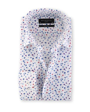 Michaelis Slim Fit Overhemd White Butterfly