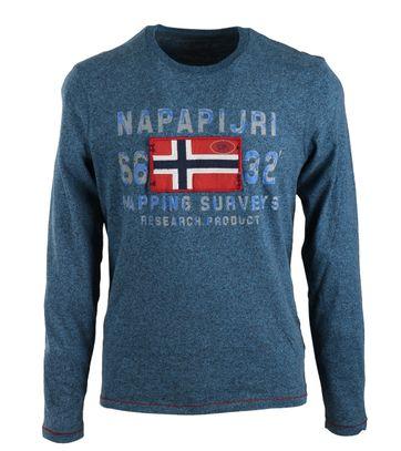 Napapijri Lange Ärmel T-shirt Soda Blau
