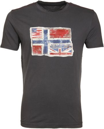 Napapijri T-shirt Senou Flag Dark Grey