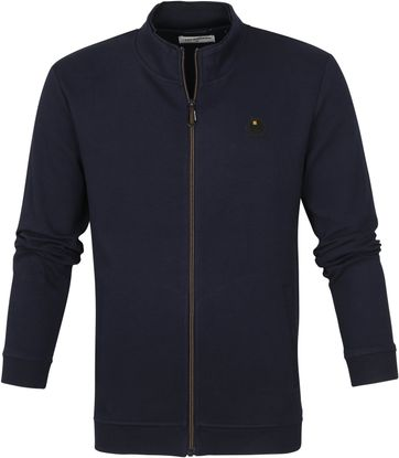 No-Excess Cardigan Double High Neck Navy