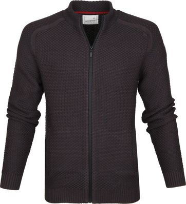 No-Excess Full Zip Cardigan Brown