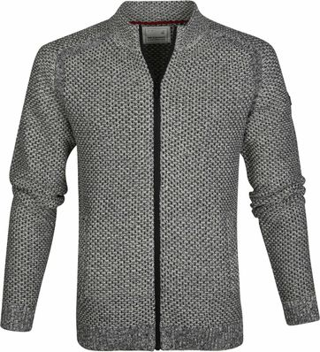 No-Excess Full Zip Cardigan Zwart Wit
